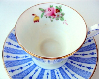 Vintage Crown Straffordshire Footed Cup and Saucer,Bone China,England, 1930s, Blue White Stripe Panels with Pink Rose Floral,Crown Mark
