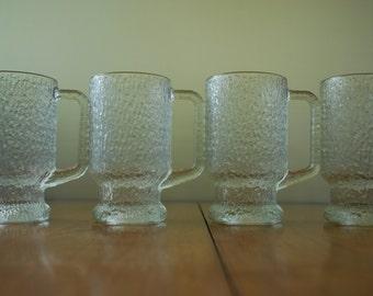 Vintage Beer Mugs - set of four - Finlandia by - Jeannette Glass - Bark design - 1960's - Modern - Minimalist