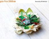 SALE SALE SALE Fabric Flower Brooch --- Green Cream --- Rustic Fabric Flower Pin --- Hat Pin --- Ooak