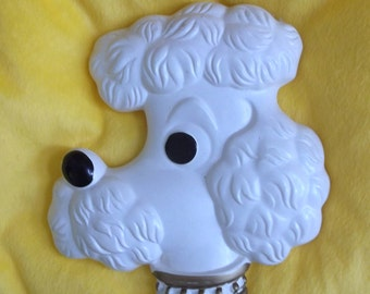 White Poodle Wall Hanging..Chalk Poodle Wall Decor..1978
