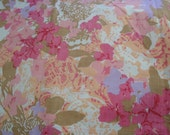 Vintage Twin Flat Fitted Sheet Pink White Purple Orange Floral
