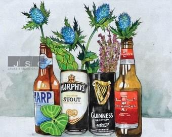 Irish Beer Garden Watercolor Print