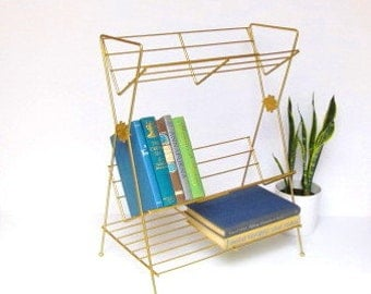 Mid Century Book Shelves, Gold Wire Book Cradle Stand