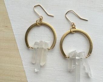 Quartz Open Circle Earrings | E31608