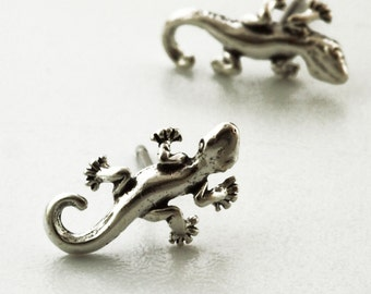1 pair of Antique Sterling Silver Gecko Posts  - 12mm x 5mm