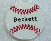 Personalized Baseball or Softball Patch  Fabric Embroidered Iron on Applique Patch Made to Order