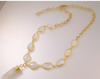 15% OFF SALE Vintage Genuine Moonstone Nugget Lavaliere Necklace Gold Filled or Gold Plated Jewelry Jewellery