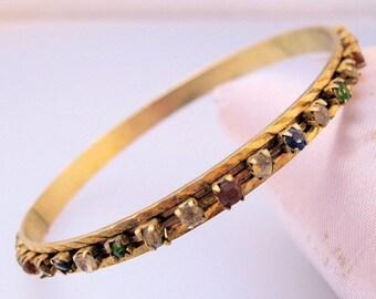 BIGGEST SALE of the Year Vintage Rhinestone Jeweled Multi Colored Bangle Bracelet