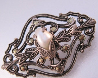 10% OFF SALE Art Nouveau Blister Pearl Marcasite Sterling Silver Brooch Pin Vintage Jewelry Jewellery