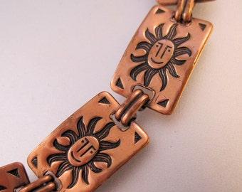 Vintage Sun Solid Copper Link Bracelet Jewelry Jewellery FREE SHIPPING