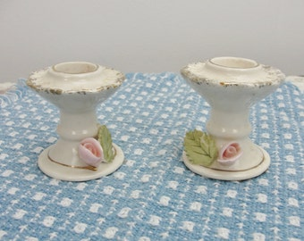 Vintage Candlestick holders with raised rose and leaf set of 2