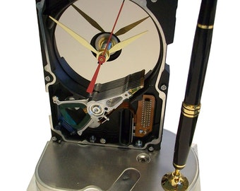 Pen Holder Hard Drive Clock. Cool Office Gift, Teacher Gift, Techie Gift, Business Award.