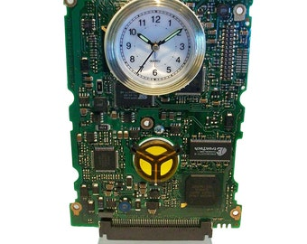 """Alarm Clock from Recycled """"Mercedes of Geek Clocks"""" Circuit Board. Got Geek Gift? FREE SHIPPING USA!"""