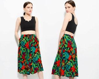 Vintage 90s Floral TROPICAL FISH Novelty Print Skirt Elastic Drawstring High Waist Midi Skirt Small Medium S M