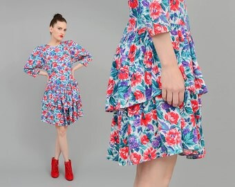 Vintage 80s ROMANTIC Floral Mini Dress Stretchy Knit Ruffled Tiered Full Skirt 1980s Garden Party Dress Medium M
