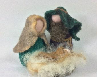 Nativity Set Needle Felt Wool Religious Decoration