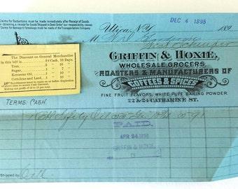Antique Blue Receipt 1895