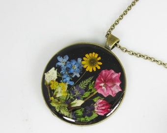 A Plethora of Blossoms, Pressed Flower Pendant, Real Flowers, Pressed Flower Jewelry,  (1960)