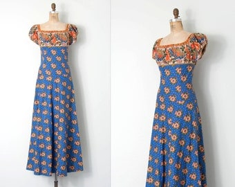 vintage 1970s dress / french country 70s maxi dress / Souleiado