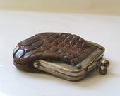 Antique Victorian Tiny Miniature Natural Alligator Hide Coin Purse Collectible