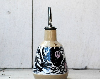 Oil dispenser cruet, Ceramic oil bottle, olive oil bottle, floral design , olive oil dispenser.