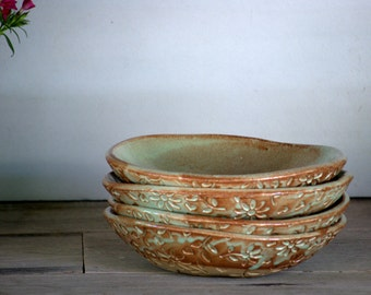 Ceramic pasta bowls - pottery bowls - salad dish - farmhouse pottery - serving bowl - rustic modern -
