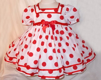 White & Red Polka Dot Shirley Temple Baby Doll Style Short Puffy Sleeve Dress Infant Baby Toddler Girl, Shirley Temple Costume Dress