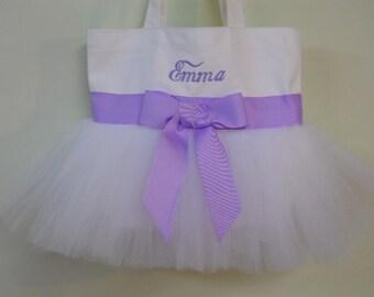 Personalized Tote bag, ballet bag, dance bag, embroidered tote bag, wedding tote bag, flowergirls tote bag, MINI tutu tote bag, MTB271-BP