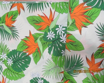 Hawaiian Quilting Fabric P:alest Yellow with Heliconia from Marianne of Maui