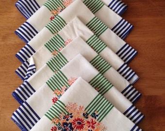 10 Clean & Crisp Vintage  Napkins Green Blue Stripes Floral