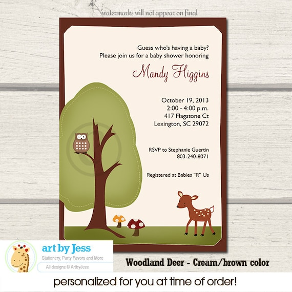 Woodland Deer Baby Shower Invitatons Print Your Own JPG Digital File or Woodland Baby Shower Invitations