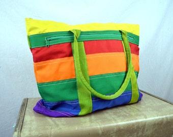 Vintage 70s 80s Rainbow Tote Bag