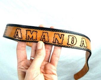 Vintage Western Deer Forest Scene Tooled Leather Belt - AMANDA