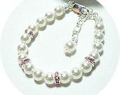 Kids Bracelet, Pearl Bracelet, Pink Bracelet, Flower Girl Jewelry, Toddler Bracelet, Pearl Rhinestones, Little Girl Jewelry, Pink and White