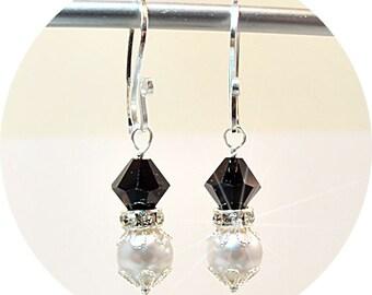 Black and White Earrings, Dangle Earrings, Bridesmaid Earrings, Bridesmaid Gift, Tuxedo Wedding, Dressy Earrings, Wedding Accessories