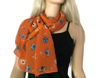 Brick red long floral chiffon scarf -Parisian Neck Tissu