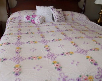 """Vintage Chenille Bedspread, hand tufted pastel popcorn, white seersucker with flowers, 89"""" wide by 103"""" long - #800-122"""