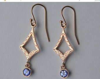 SALE Tanzanite Dangly Earrings in 14K Rose Gold with Kite Connector