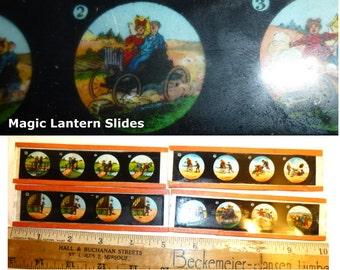 Four Magic Lantern Slides. 4 Panel Visual Jokes. Antique German Magic Lantern Slides. Very Old Glass Slides.