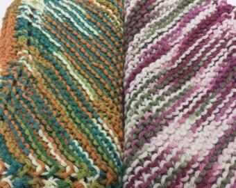 Hand Knit 9ins x 9ins Cotton Dishcloths Set Of 4