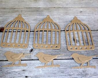 Bird Cage and Birds Chipboard Die Cut Set