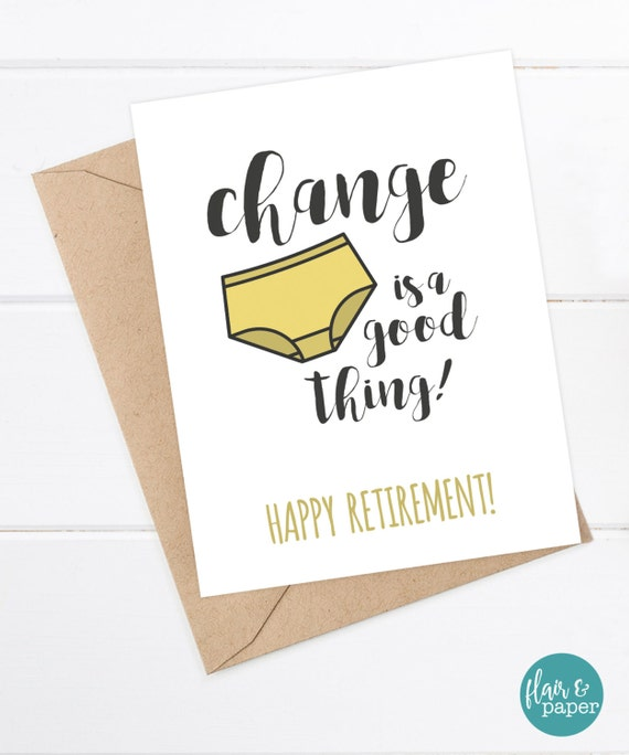 Retirement Card Funny Coworker Card New Job Good by FlairandPaper