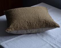 SALE - Sashiko cushion masculine decor handmade brown cover quilted pillow shams bohemian home boho earthy natural eco fabrics natural dyes