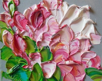Oil Painting , Shades of Pink Peony , Palette Knife , Jan Ironside ,