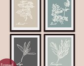 French Herb Prints (Series A4) Set of 4 - Art Poster Prints (Featured in Neutral Color Palette) Provincial Vintage Modern Art Prints