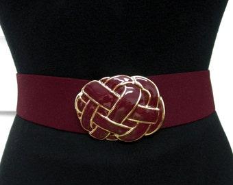 Vintage Skaffles Belt Knotted Burgundy Gold Enamel Buckle Elastic Wide Cinch Belt ML