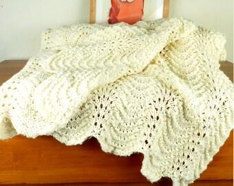 Vintage afghan acrylic afghan blanket, acrylic blanket boho afghan, Bohemian fashion, Bohemian home Boho decor,  Hippie bedding, eggshell