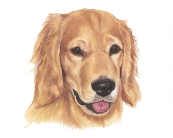 Watercolor Custom Pet Portrait *CONVO FOR AVAILABILITY*  Dog Portrait,  Golden Retriever Portrait, Wall Art, Home Decor,  Dog Lovers Gift