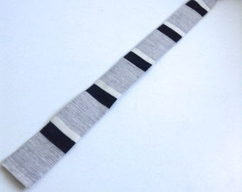 60's Vintage SKINNY Tie.  Square edge.  Grey, Black, White.  Mod, Eames era, Mad Men, Beatles, Rockabilly