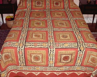 "huge RAJASTHAN INDIA mirrired QUILT,vintage coverlet,bedspread,115""x95"",applique,embroidered,throw,salmon,black,mustard,beige"
